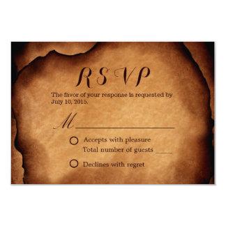 """Viejo boda de papel quemado RSVP del vintage Invitación 3.5"""" X 5"""""""