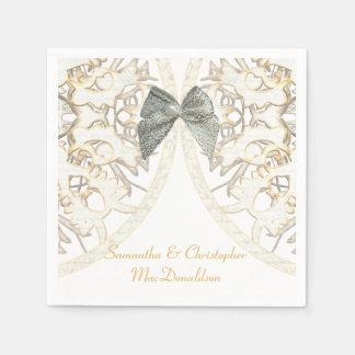Viejo boda del damasco del cordón blanco servilletas de papel