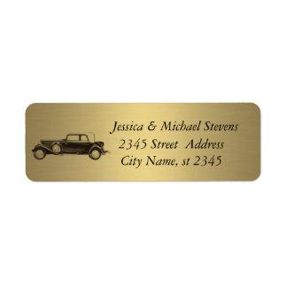 Viejo boda moderno elegante del oro del coche etiqueta de remitente