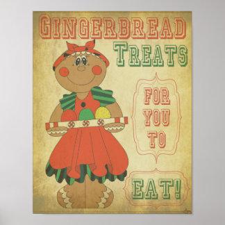 Viejo chica del pan de jengibre del vintage de la póster