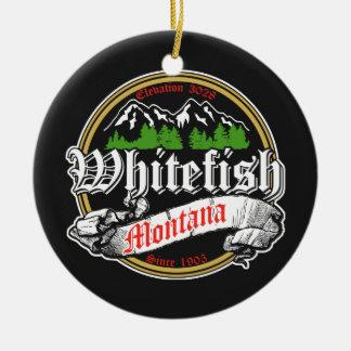 Viejo círculo del pescado blanco adorno navideño redondo de cerámica