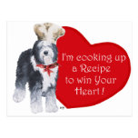 Viejo cocinero inglés del perro pastor del amor tarjetas postales