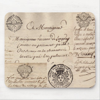 Viejo collage francés Mousepad del documento