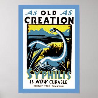 Viejo como sífilis del ~ de la creación es curable póster