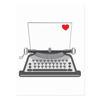 Viejo corazón de la máquina de escribir postal