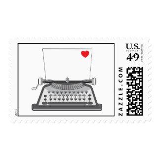 Viejo corazón de la máquina de escribir sello