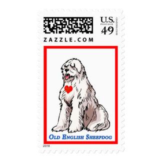 Viejo corazón de oro inglés del perro pastor sellos