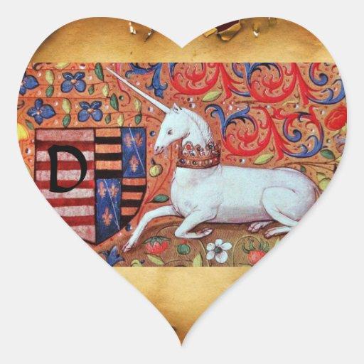 VIEJO corazón del MONOGRAMA del PERGAMINO de BROWN Pegatina En Forma De Corazón