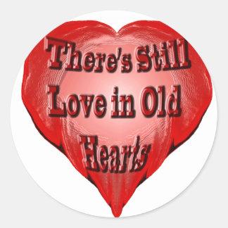 Viejo corazón pegatinas redondas
