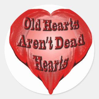 Viejo corazón etiqueta redonda