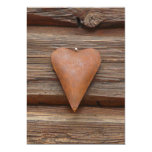 Viejo corazón rústico en la madera de la cabaña de invitación 12,7 x 17,8 cm