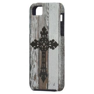 Viejo cristiano de madera de la cruz del hierro iPhone 5 carcasa