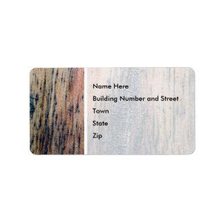 Viejo cuadro de madera rústico etiquetas de dirección