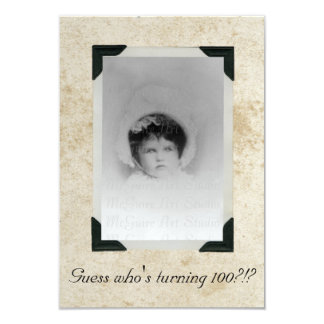"""Viejo cumpleaños de papel manchado de la foto invitación 3.5"""" x 5"""""""
