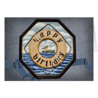 Viejo cumpleaños del buque de vapor tarjeta de felicitación