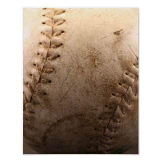 Viejo del béisbol cierre para arriba póster