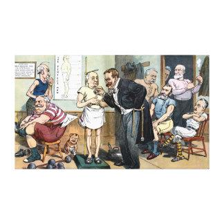 Viejo dibujo animado 1907 del vintage del Dr. Roos Impresiones De Lienzo
