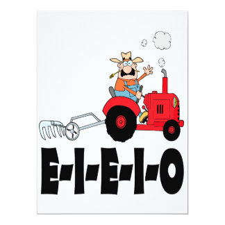"viejo dibujo animado del eieio del macdonald invitación 6.5"" x 8.75"""
