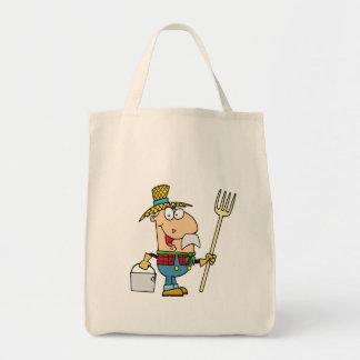 viejo dibujo animado divertido del granjero del ma bolsa lienzo
