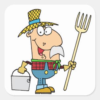 viejo dibujo animado divertido del granjero del calcomanías cuadradas personalizadas