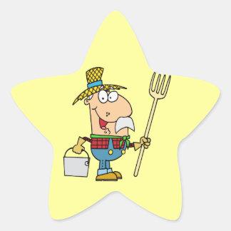 viejo dibujo animado divertido del granjero del calcomania forma de estrella personalizada