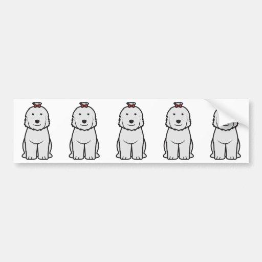 Viejo dibujo animado inglés del perro del perro pa etiqueta de parachoque