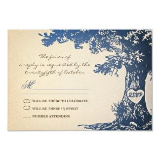 """viejo diseño azul del rsvp del boda del vintage invitación 3.5"""" x 5"""""""