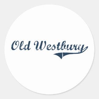Viejo diseño clásico de Westbury Nueva York Pegatina Redonda