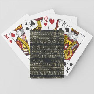 Viejo diseño de la pizarra de la partitura musical baraja de póquer