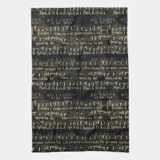 Viejo diseño de la pizarra de la partitura musical toalla de cocina