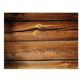 Viejo diseño de madera marrón de la pared postal