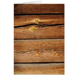 Viejo diseño de madera marrón de la pared tarjeta de felicitación