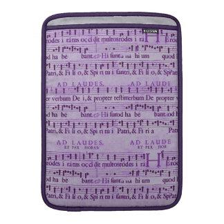 Viejo diseño de papel púrpura de la partitura musi fundas MacBook