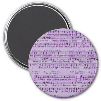 Viejo diseño de papel púrpura de la partitura musi imán redondo 7 cm