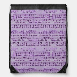 Viejo diseño de papel púrpura de la partitura musi mochila