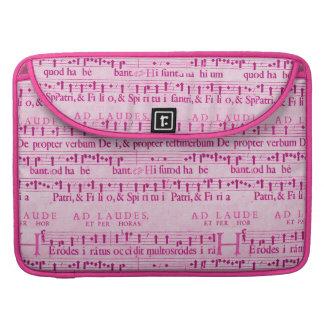 Viejo diseño de papel rosado de la partitura music fundas macbook pro