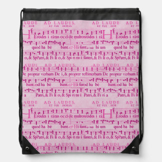 Viejo diseño de papel rosado de la partitura music mochila