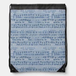Viejo diseño del papel azul de la partitura musica mochila