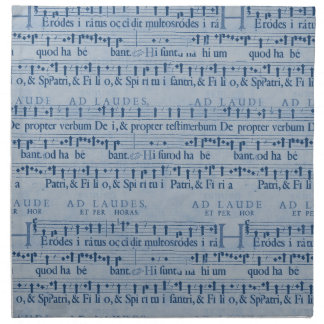 Viejo diseño del papel azul de la partitura musica servilletas