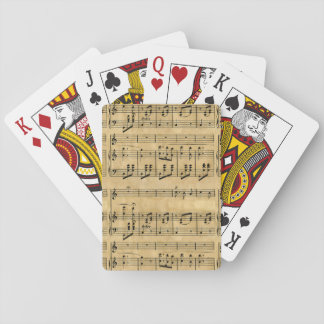 Viejo diseño del papel de pergamino de la partitur cartas de juego