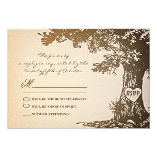 viejo diseño del rsvp del boda del vintage del árb invitaciones personalizada