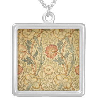 Viejo diseño floral antiguo collar plateado