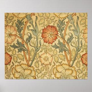 Viejo diseño floral antiguo póster