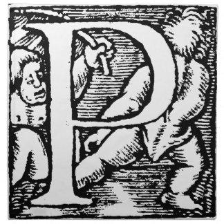 Viejo diseño inicial de la letra P Servilletas