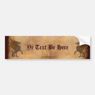 Viejo diseño medieval del dragón de YE Etiqueta De Parachoque