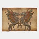 Viejo diseño medieval del dragón de YE Toallas De Cocina
