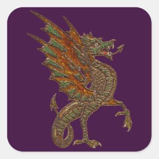 Viejo diseño medieval del dragón de YE Pegatina Cuadrada