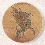 Viejo diseño medieval del dragón de YE Posavasos Personalizados