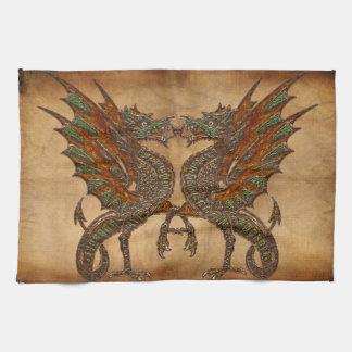 Viejo diseño medieval del dragón de YE Toalla De Mano