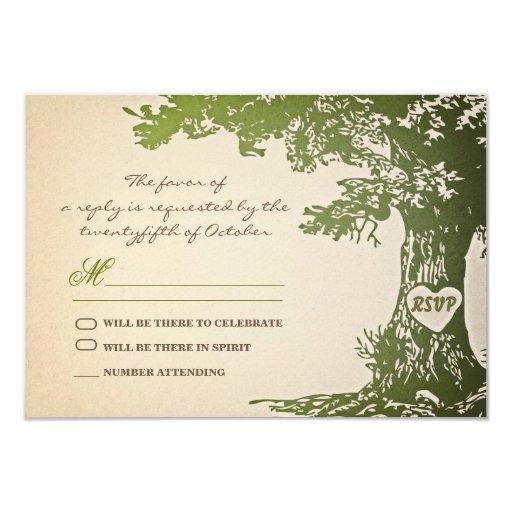 viejo diseño verde del rsvp del boda del vintage comunicado personalizado